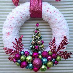 Christmas Wreath Christmas Tree Wreath Pink by TweetTweetWreaths