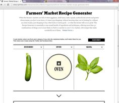 Farmers' Market Recipe Generator Baby Squash, Farmers Market Recipes, Recipe Generator, Roasted Shrimp, Just Shop, Sustainable Development, Marketing, How To Plan, Green