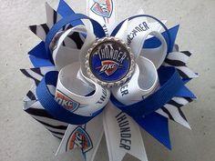 Oklahoma City Thunder zebra bow.
