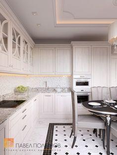 Фото интерьер кухни-гостиной из проекта «Дизайн трехкомнатной квартиры 100 кв.м. в стиле неоклассики, ЖК «Смольный парк»»
