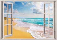 coast line wall sticker 3D window beach by 3DWindowWallStickers