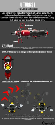 Motorcycle U turns made easy with Onemoto's bike riding tips. The 2 types of U turns can be done easily once you learn to control your bike's clutch & brake Bike Riding Tips, Riding Gear, Motorcycle Tips, Moto Bike, U Turn, Front Brakes, Coaching, Training