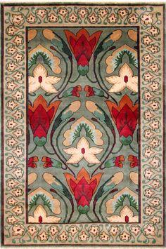 Hali hand made rugs, est 1979: Art Nouveau - Monkshood (green/beige), 100% hand spun NZ wool, hanknotted India