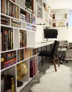 Good idea for basement office area with built in bookshelves.  Desk area is big enough for more than one person.