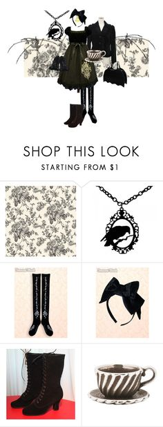 """Alice, decaying..."" by cloudylovely ❤ liked on Polyvore featuring Cameo, Trollbeads, victorian boots, gothic alice, tea party, alice in wonderland, moi meme moitie, dark victorian, goth alice and gothic loli"