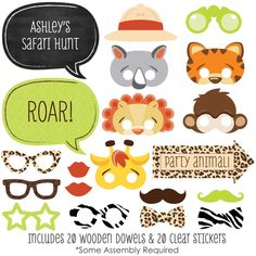 Jungle Animals Photo Booth Kit - 20 Safari Jungle Photobooth Props with Custom Talk Bubbles for Baby Shower or Birthday Party by BigDotOfHappiness on Etsy https://www.etsy.com/listing/214561963/jungle-animals-photo-booth-kit-20-safari