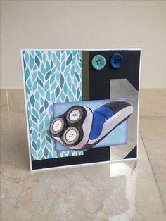 Mannen verjaardagskaart met een scheerapparaat! Men's birthday card with a razor on it! DIY