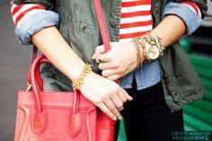 As seen on Chic Street Style...Stella & Dot's Renegade Cluster Bracelet and Jacinthe Bracelet...two of my favs!  www.stelladot.com/sarahtaliaferro