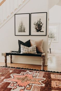 Tour a Space that Blends Bohemian Details with a Modern Farmhouse, Home Decor, Modern Southwestern Decor in an entryway featuring a large area rug and framed cactus prints - Southwest Decor & Decorating Ideas. Modern Southwestern Decor, Interior Design, Apartment Decor, Bohemian Living Room Decor, Modern Bohemian Living Room, Industrial Interior Style, Retro Home Decor, Home Decor Accessories, Home Decor
