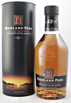 Old Style round bottle of Highland Park Single Malt Scotch Whisky from the Orkney Islands aged 12 years. Distillery original bottle and tube in good condition.