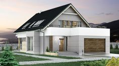 Wizualizacja HG-I22 CE House Layout Plans, Small House Plans, House Layouts, Balcony Design, Home Fashion, Sweet Home, Loft, Outdoor Structures, House Design
