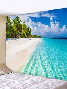Sea Beach Print Tapestry Wall Decoration - multicolor W59 INCH * L51 INCH Hawaiian Photo Booth, Tree Tapestry, Cheap Wall Tapestries, Gallery Wall Frames, Beach Room, Beach Print, Cool Walls, Beach Photos, Tapestry Wall Hanging