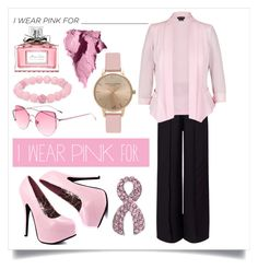 """I wear pink for autumn 💖"" by ifotowhatilove ❤ liked on Polyvore featuring Miss Selfridge, City Chic, Palm Beach Jewelry, Topshop, Christian Dior, Bobbi Brown Cosmetics and IWearPinkFor"