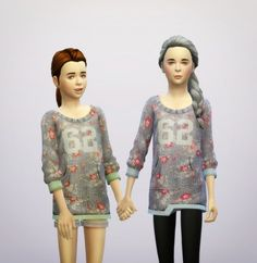 Floral sweater for kids at Rusty Nail via Sims 4 Updates
