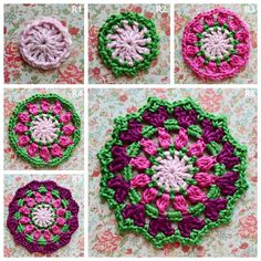 Featured at Wednesday Link Party Atelier Marie-Lucienne: Elgin Cathedral Coaster / Mandala Crochet Granny, Double Crochet, Old Granny, Magic Circle, Chain Stitch, Pot Holders, Free Pattern, Coasters, Tejidos