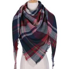 RBROVO Winter Scarf Women Warm Plaid Cashmere Scarves Triangle Street Beat Tippet Echarpe Femme Hiver Size one size Color BaoBlue Plaid Blanket Scarf, Wool Scarf, Women's Wraps And Shawls, Pashmina Wrap, Pashmina Shawl, Wrap Clothing, Triangle Scarf, Triangle Pattern, Cashmere Shawl