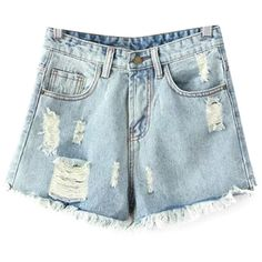 Chicnova Fashion Distressed Ripped Denim Shorts (36 BGN) ❤ liked on Polyvore featuring shorts, pants, high-rise shorts, jean shorts, high rise shorts, destroyed denim shorts and ripped denim shorts