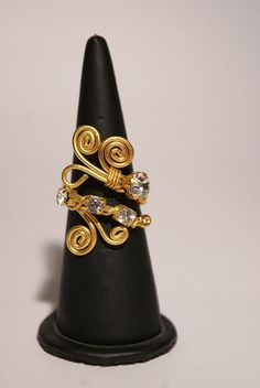 wire wrapped jewelry handmade ring  gold ring  wire by BeyhanAkman, $25.00