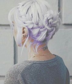 hair, purple, and braid εικόνα