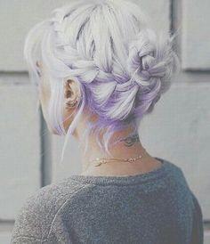 hair, purple, and braid εικόνα