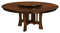 Amish Arts & Crafts X-Base Dining Table with Optional Lazy Susan A best selling wood table, this beauty adds a charming Lazy Susan in the middle, or you can choose to leave it off. Custom wood table built in America. Choose wood and stain. #diningtable #roundtable #woodfurniture