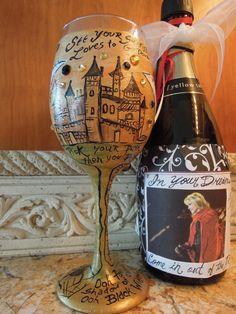 Gold Dust Woman, STEVIE NICKS inspired handpainted, Wineglass, Rock Goddess Goblet