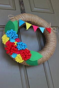 Summer/Spring Jute Yarn Wreath/Everyday/Felt by LizzyDesigns, $45.00