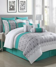 Another great find on #zulily! Gray, White & Teal Luna 10-Piece Comforter Set by S.L. Home Fashions #zulilyfinds