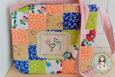 Patchwork handmade embroidered messenger bag  by MainileMamei