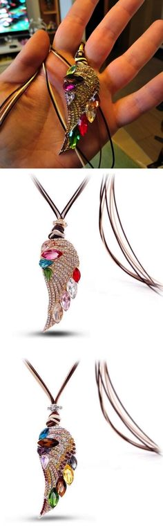 Crystal Angel wing Long Necklaces Pendant - [4 Variation]
