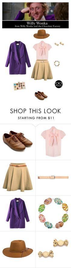 """""""Willy Wonka - Willy Wonka and the Chocolate Factory"""" by closplaying ❤ liked on Polyvore featuring Ollio, H&M, Chicnova Fashion, Bridge Jewelry, RHYTHM, Marc by Marc Jacobs and Kate Spade"""