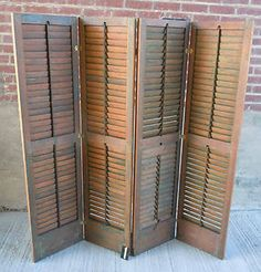 1 Antique 4 Panel Wood Shutter 63 Room Divider Screen