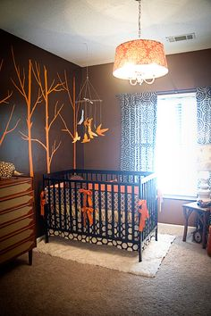 great colors, walls, light fixture....love the pattern mixing on the crib