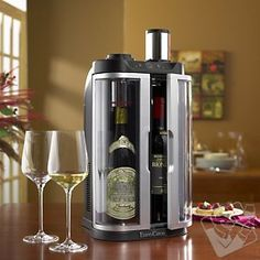 Says it chills and preserves opened wine up to 10 days. EuroCave SoWine Home Wine Bar (Silver Trim Door) $395