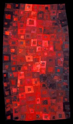 """""""Blood and Oil"""" by Janet Kurjan  Did not know if this went on my I Love Red board, my Quilt board or my Textile & Fibre Art board. This was the decision. I wish I thought of this first I would love to own this quilt"""
