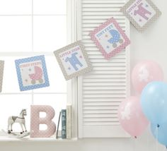 TINY FEET- Bunting 3.5m Baby Shower,Pink Blue Party Supplies,Banner Decoration