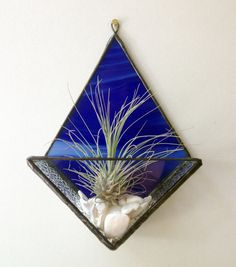 Blue stained glass terrarium air plant by BeautifulGlassDesign, $28.00