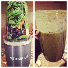 Spinach, #kale, carrots, blueberries, strawberries & flax seeds #nutribullet #nutriblast
