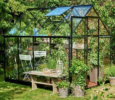 New Halls Qube low threshold greenhouse - Black - Toughened Glass - Sale on now!