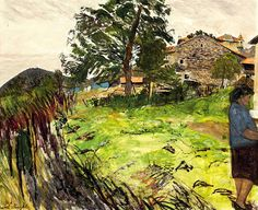 CAREL WEIGHT, R.A. (1908-1997) FRENCH FARM WITH WOMAN IN BLUE