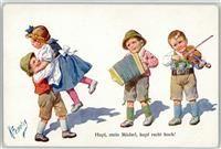 Künstlerkarte Feiertag, K. Kind Quetschkommode Geige Tanz BKWI