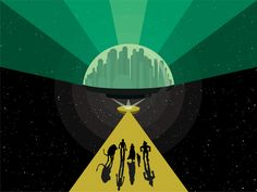 Space-Age Oz vector illustration... a retro-futuristic take on the Emerald City from The Wizard of Oz.
