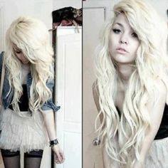 blonde emo hair curly