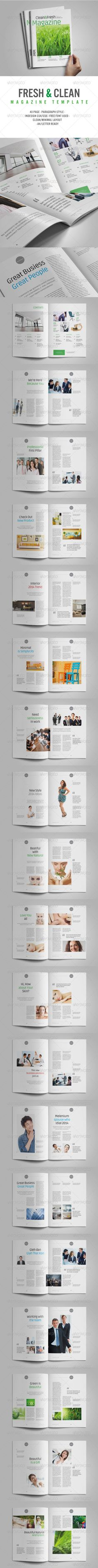 40 Page Fresh and Clean Layout #Employee Magazine #fashion #indesign #green #nature #$10