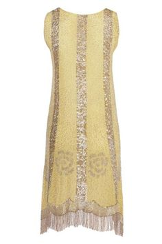 1920's Yellow and silver fringed flapper dress / Gatsby Inspired Fashion