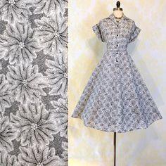 Vintage 50s Garden Party Dress XL  Novelty Fern by labellevintage, $165.00 Women's vintage spring summer fashion