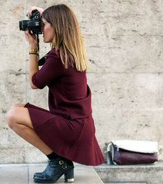 Maroon matching separates coupled with black booties. // Photo: The Stylograph #PFW #streetstyle