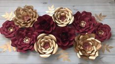 Can't wait to see it all set up! 21st Birthday Decorations, Quince Decorations, Gold Party Decorations, Flower Decorations, Elegant Birthday Party, Gold Birthday Party, Gold Backdrop, Paper Flower Backdrop Wedding, Gold Flowers