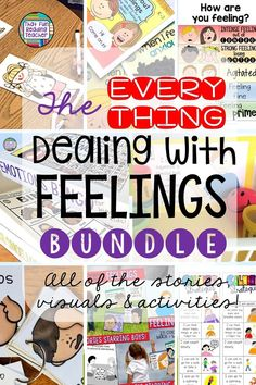 Teaching students how to manage feelings and emotions in the classroom? This bundle of storybook lessons, visuals and activities contains tried and true resources for K-4 students. Click through to read their feedback, and for more information! $ #socialemotionallearning #feelings #emotions #classroommanagement #thatfunreadingteacher Student Teaching, Teaching Kids, Teaching Resources, Parent Resources, Teaching Materials, Classroom Resources, Emotions Activities, Social Skills Activities, Kindness Activities