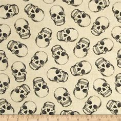 Timeless Treasures Mr. Bones Skulls Cream from @fabricdotcom  Designed by Timeless Treasures, this cotton print fabric is perfect for quilting, apparel and home decor accents. Colors include shades of black on a cream background.